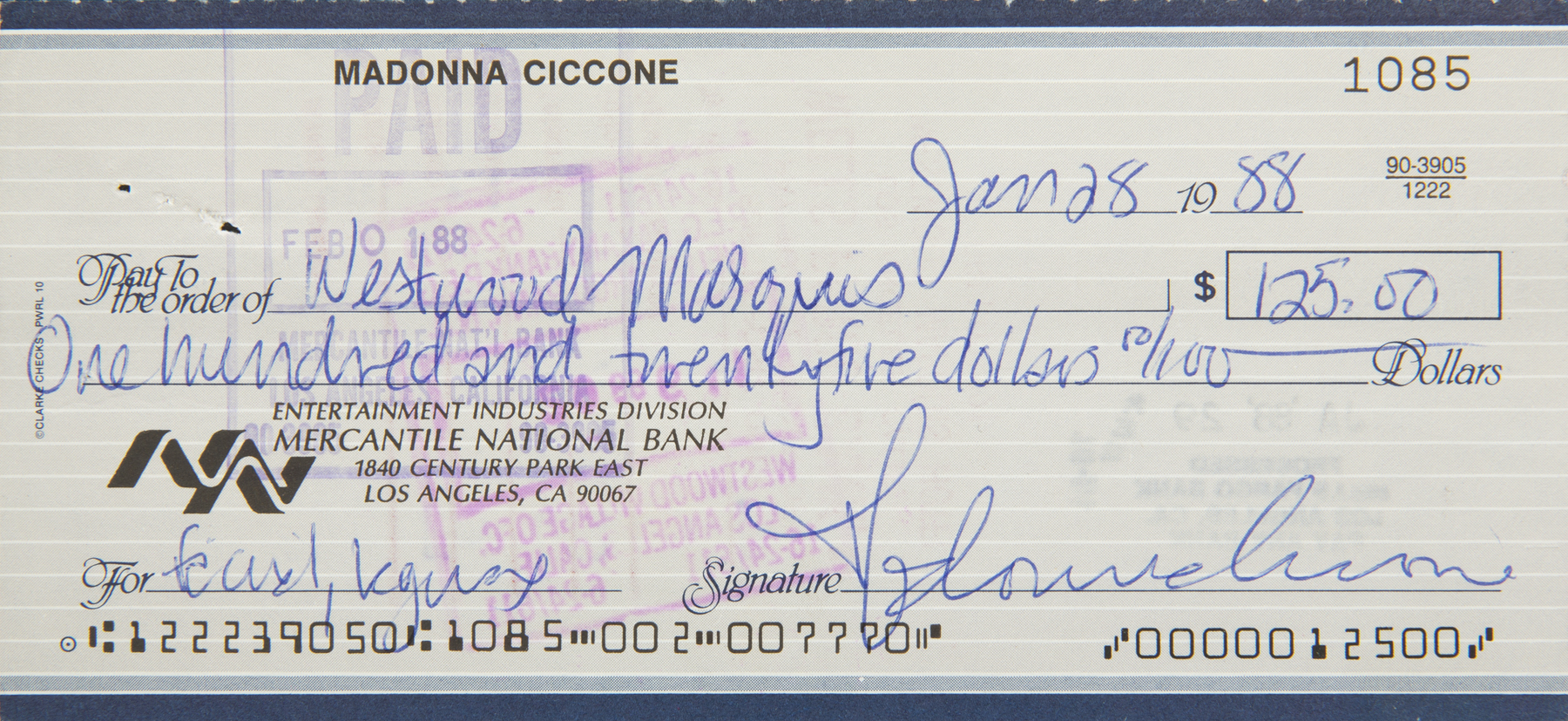 MADONNA SIGNED CHECK