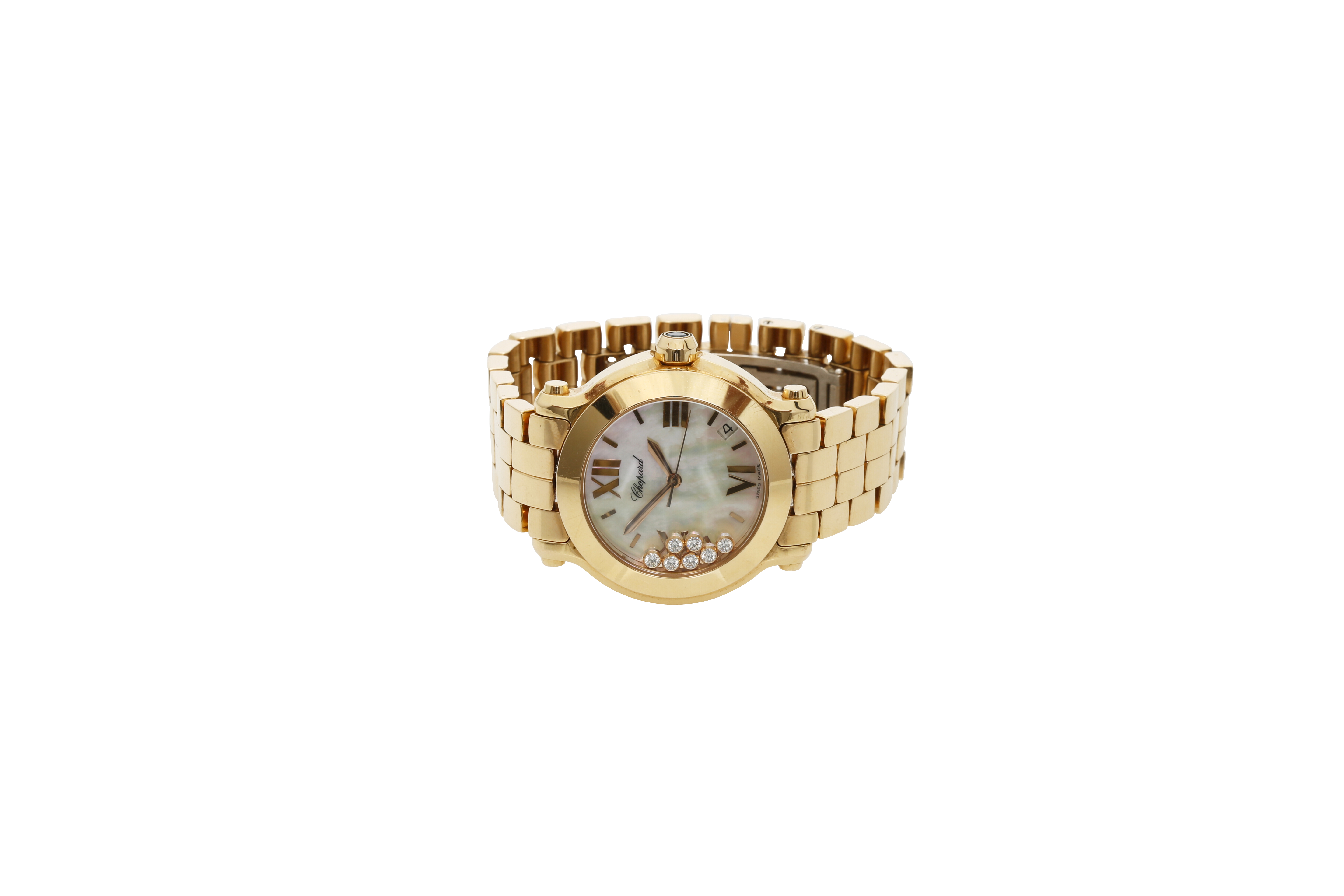 A Lady's 18K Rotgold Chopard Happy Sport Wristwatch with 1 Sapphire and 7 Diamonds