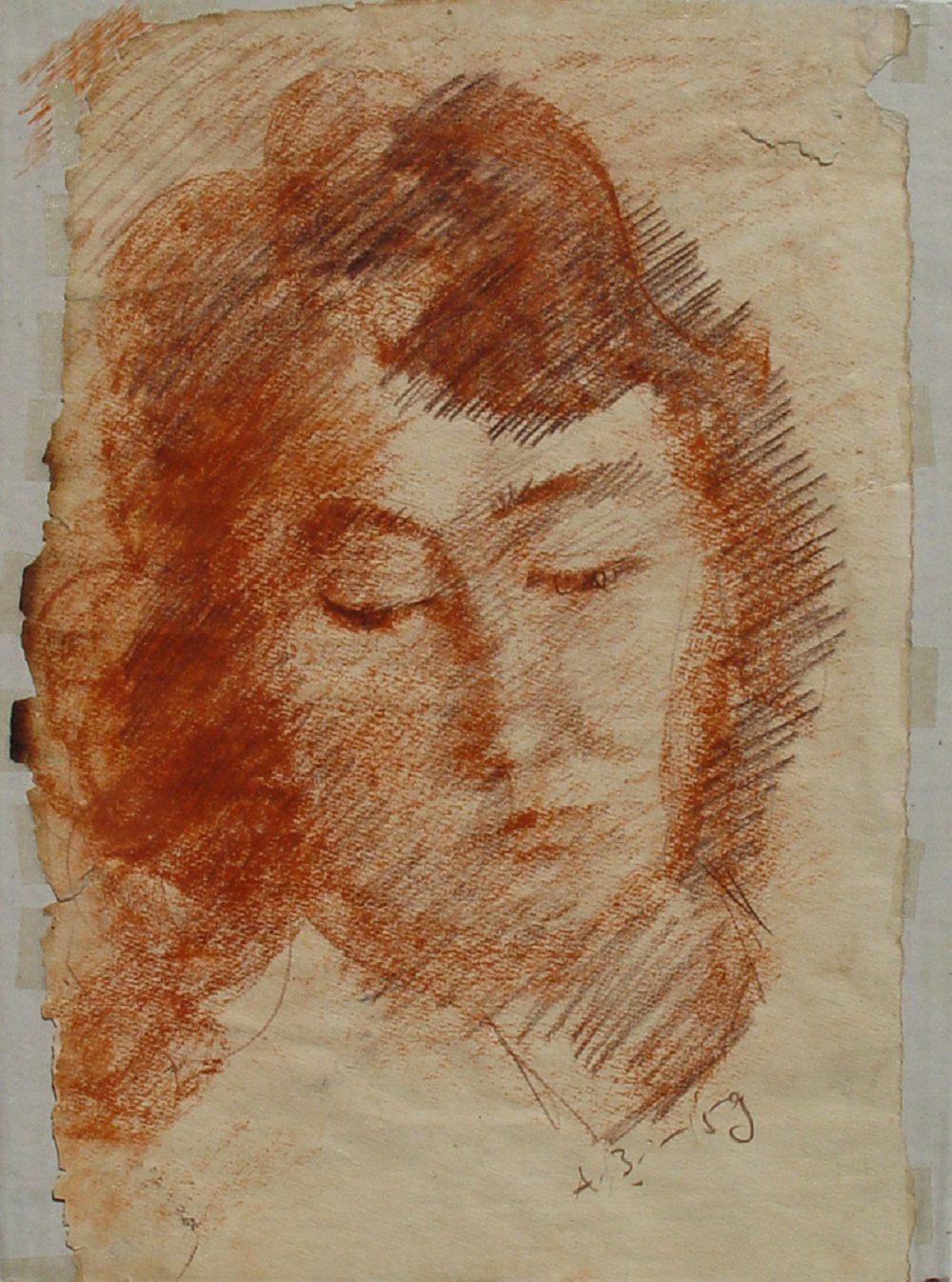 Anatoly Zverev (Russian, 1931-1986) (AR), Zinaida Costakis portrait, pastel on paper, 40 x 28 cm