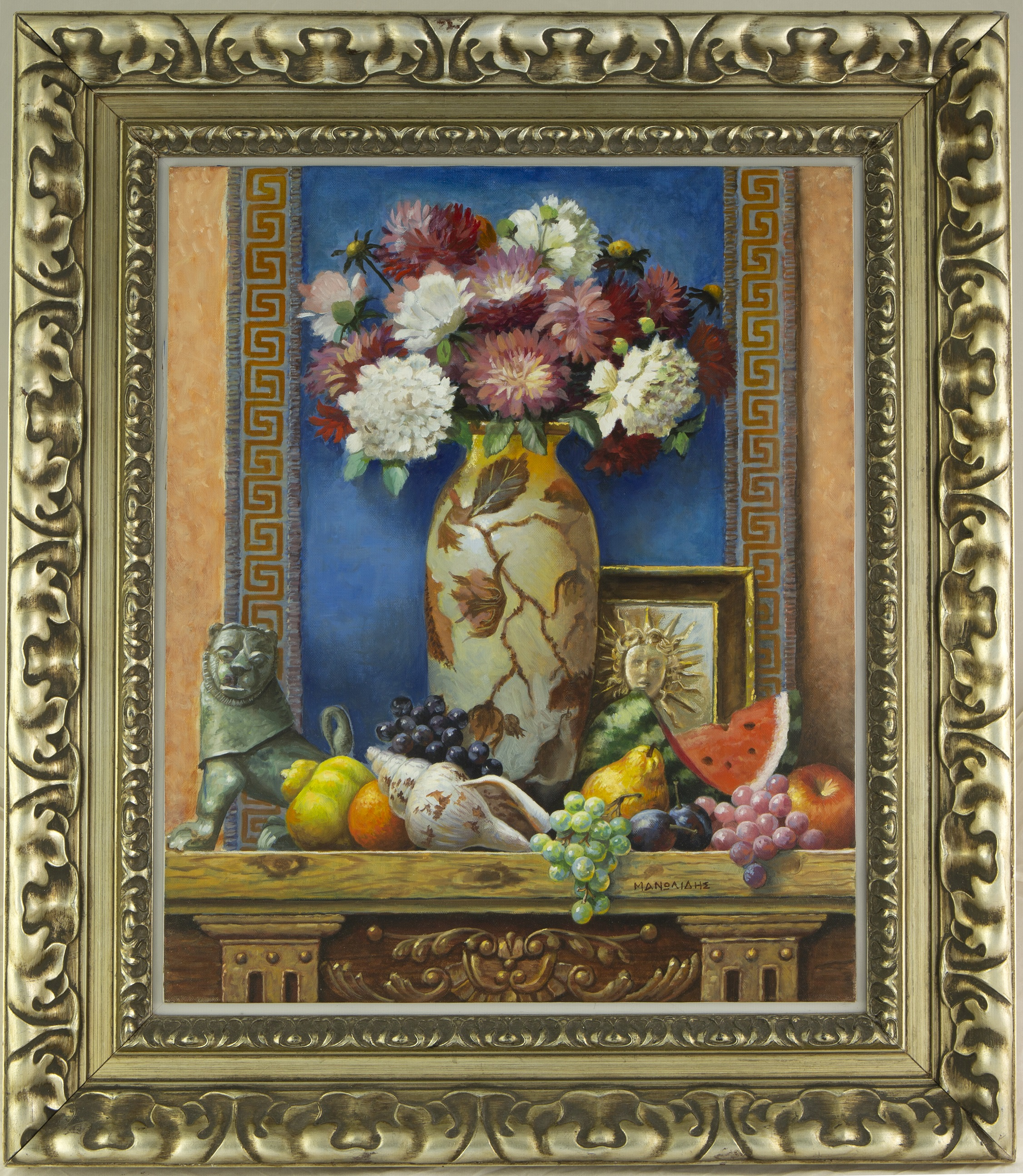 Theodoros Manolidis (Greek, born 1940) (AR), Composition with Chinese Vase, oil on canvas