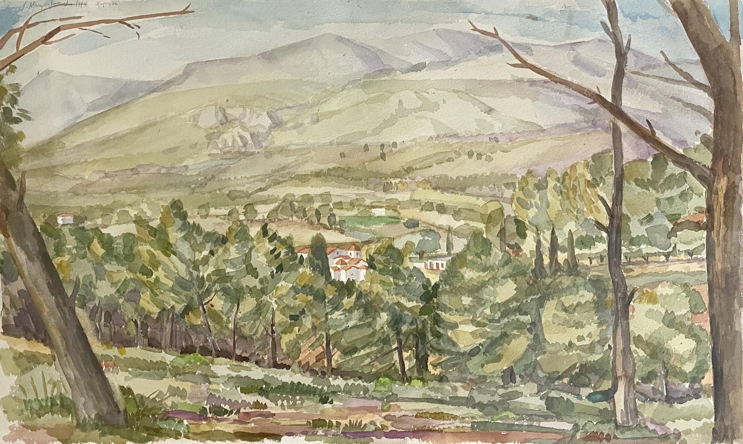 Ioakeim Minaretzopoulos (Greek), Parnitha, 1999, watercolor on paper, 40 x 65 cm