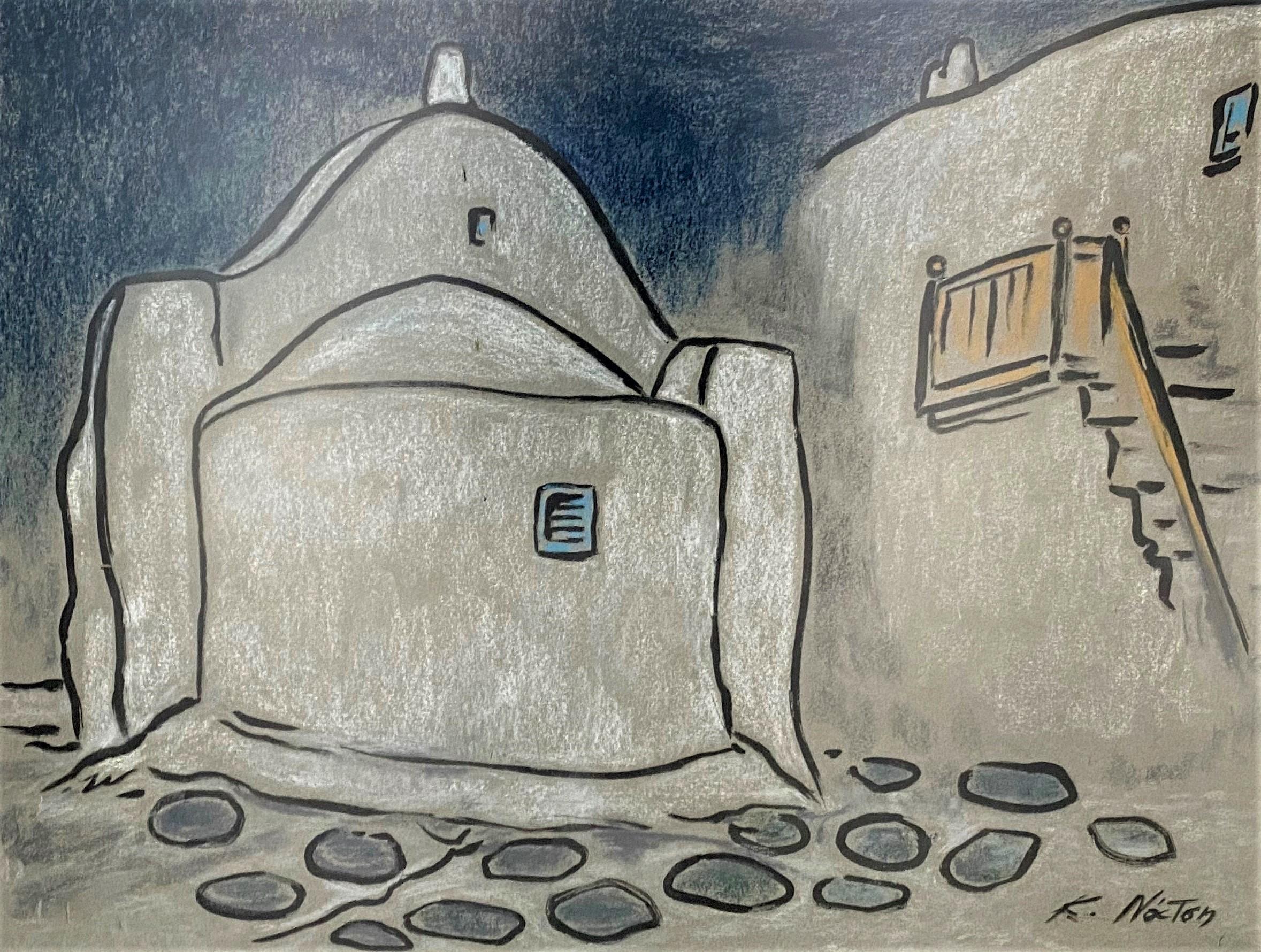 Clio Natsi (Greek, born 1929) (AR), Mykonos, pastel on cardboard, 49 x 64 cm