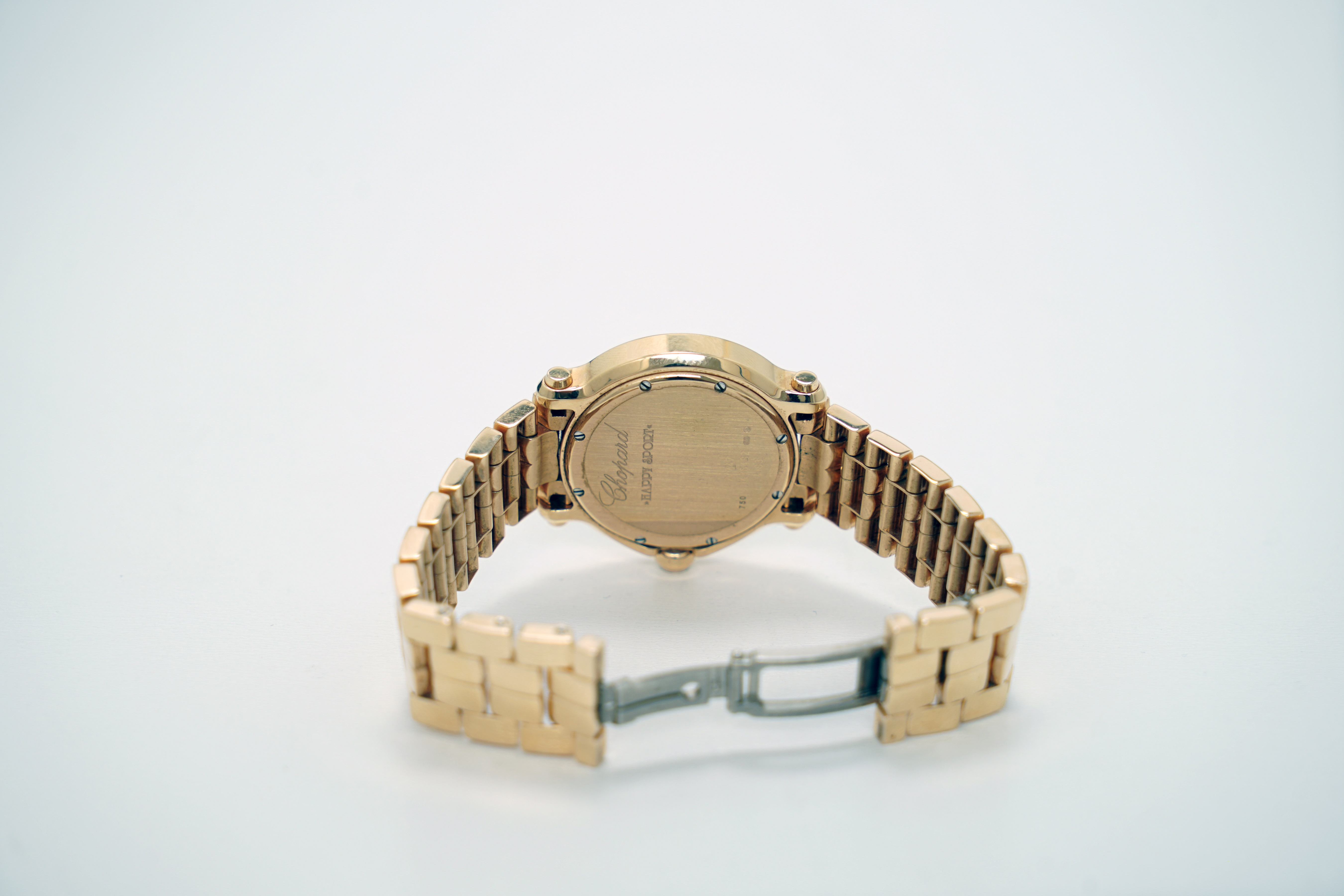A Lady's 18K Rotgold Chopard Happy Sport Wristwatch with 1 Sapphire and 7 Diamonds - Image 10 of 10
