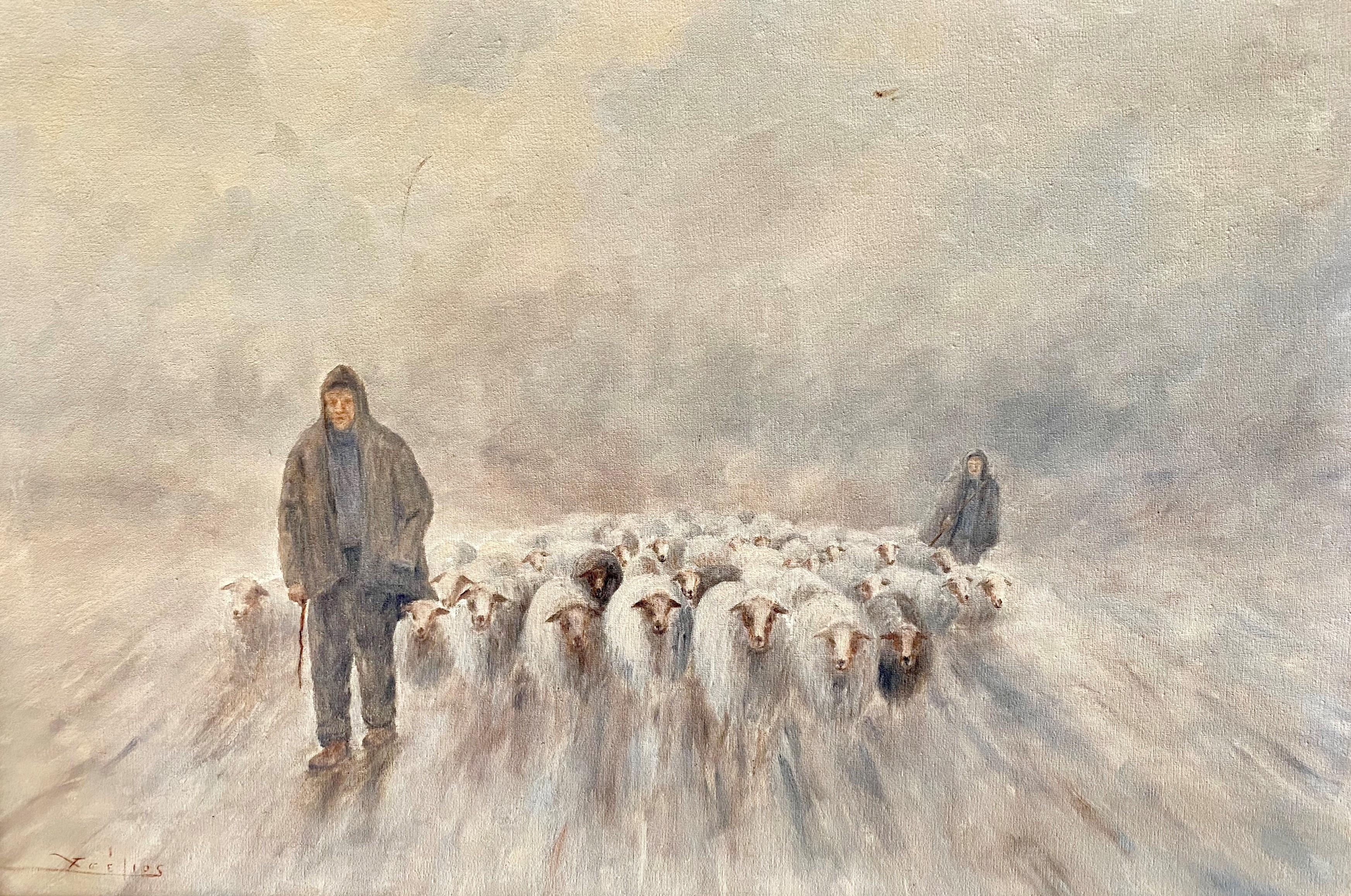 Christos Tselios (Greek), The Shepherds, oil on canvas, 60 x 90 cm