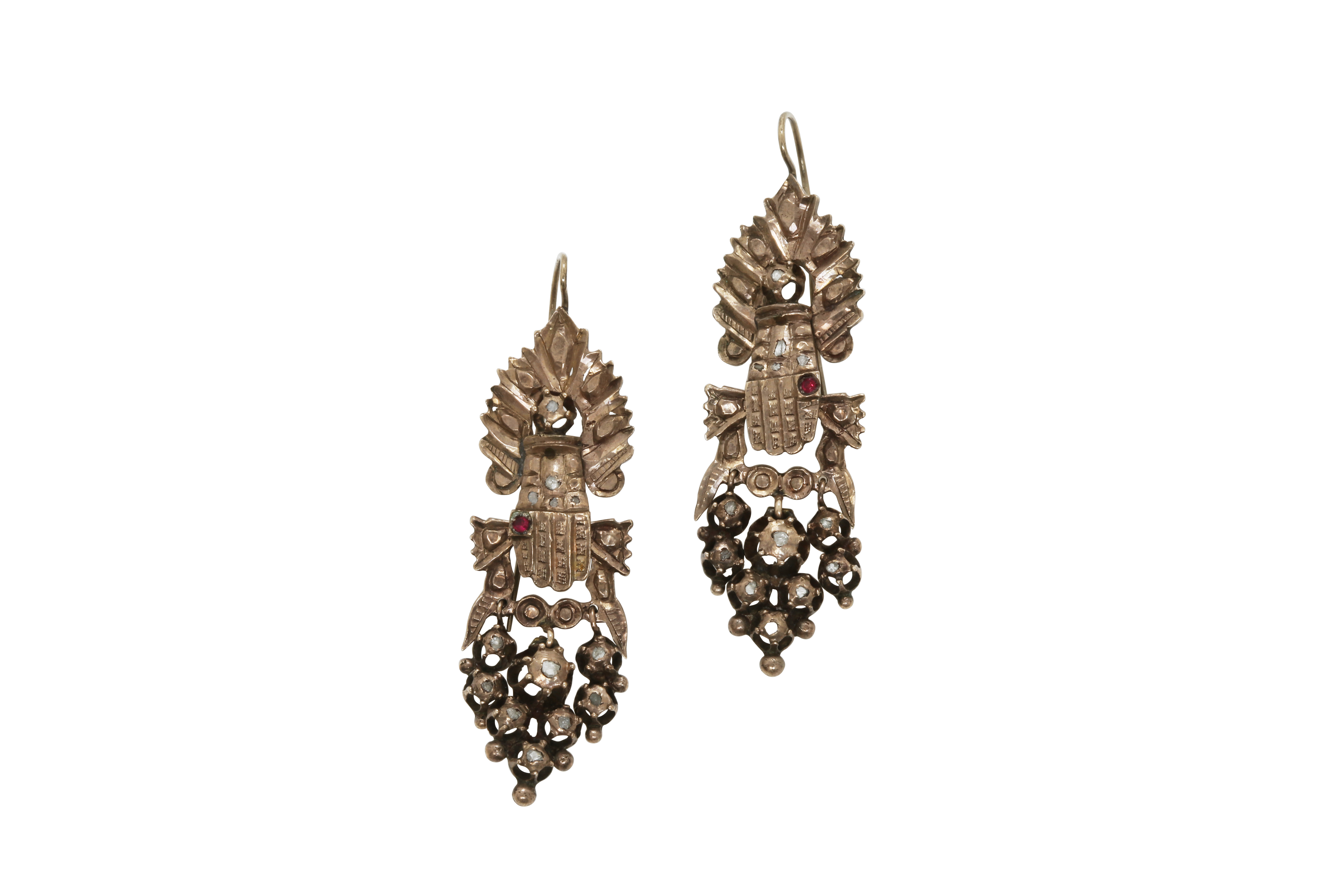 A pair of early 20th century Constantinople white gold earrings with diamonds. Approx: 12 gr