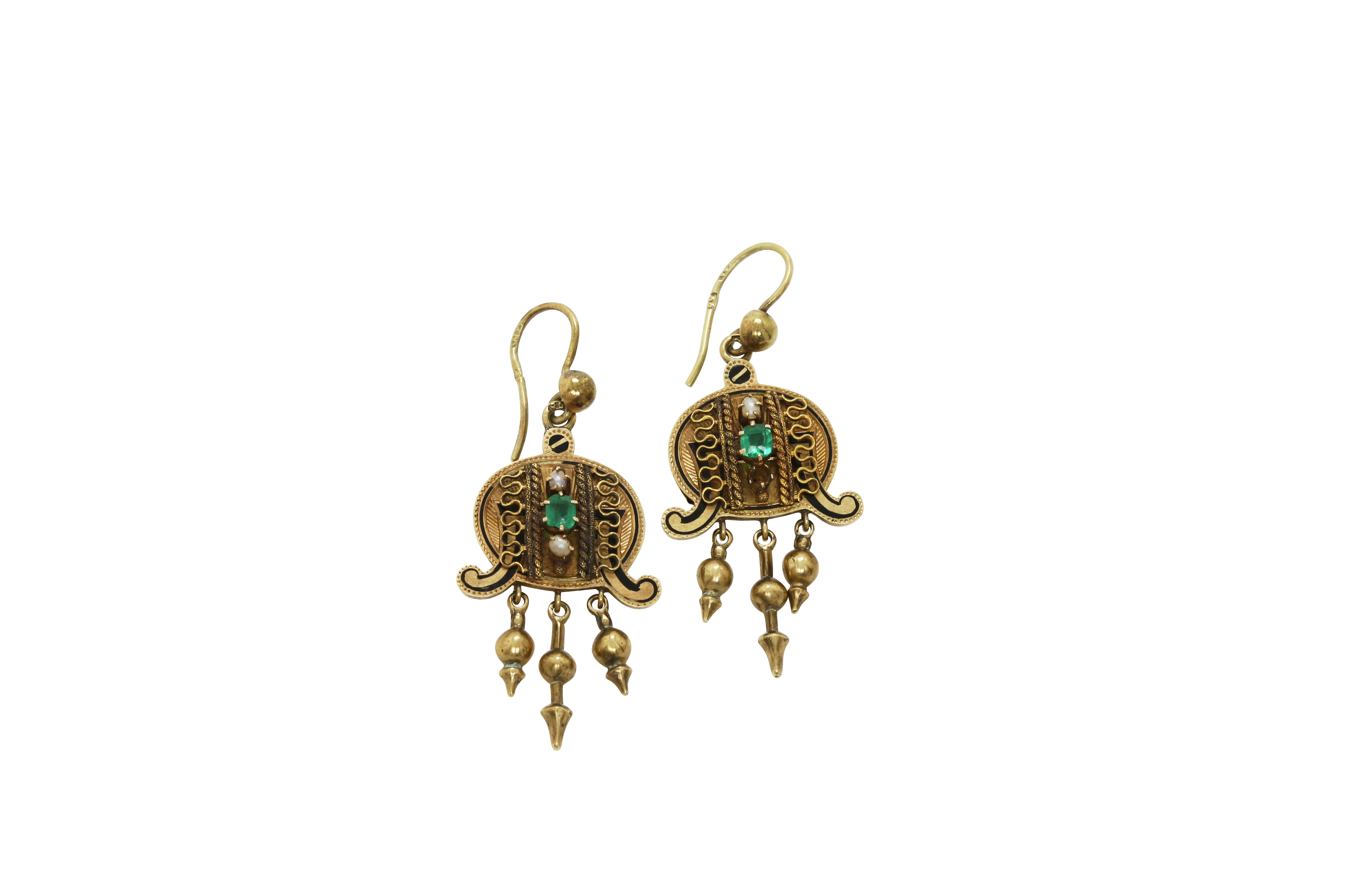 A pair of late 19th century Constantinople gold earrings. Approx: 10 gr