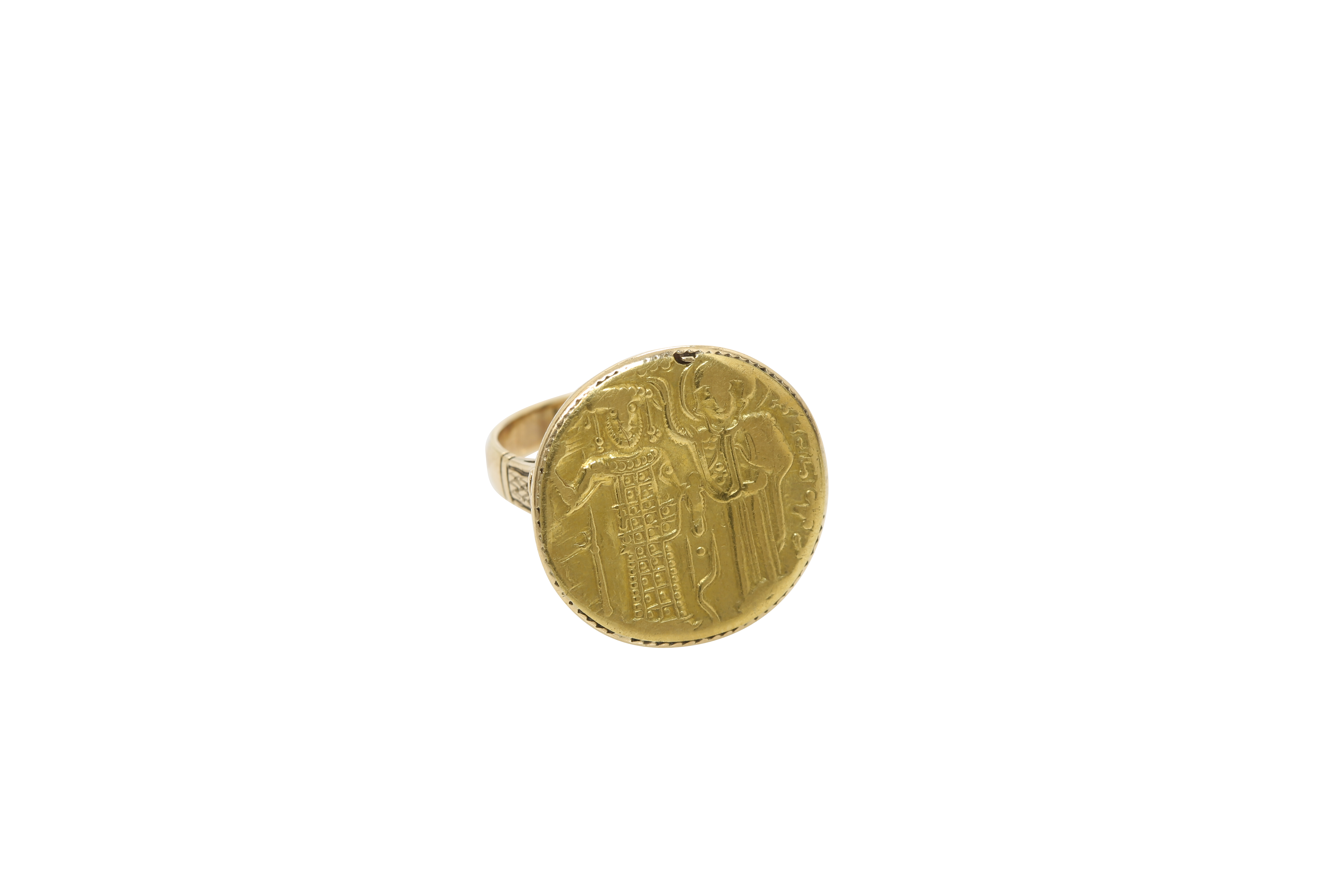 A 19th century Orthodox gold ring, depicting Saint Constantine and Helen. Approx: 8 gr.