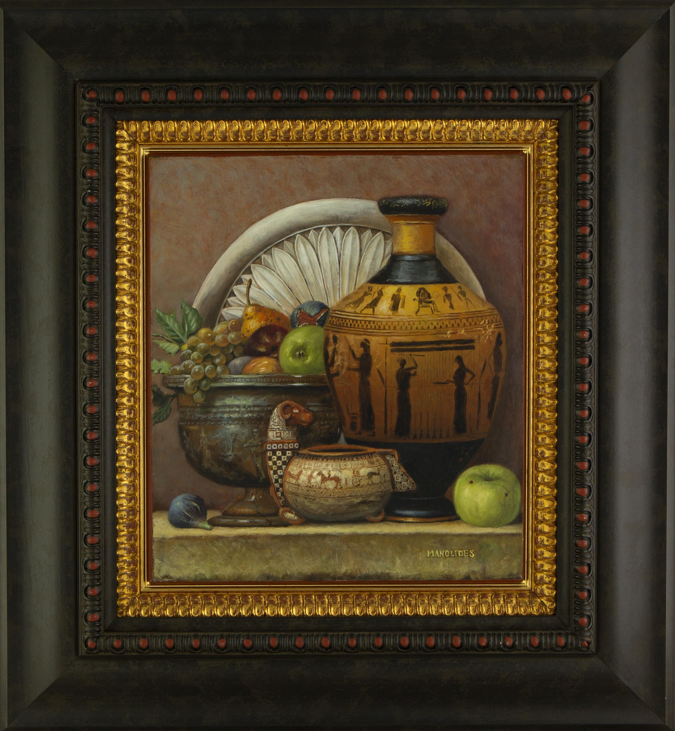 Theodoros Manolidis (Greek, born 1940) (AR), Still life with Ancient Greek vase, oil on canvas