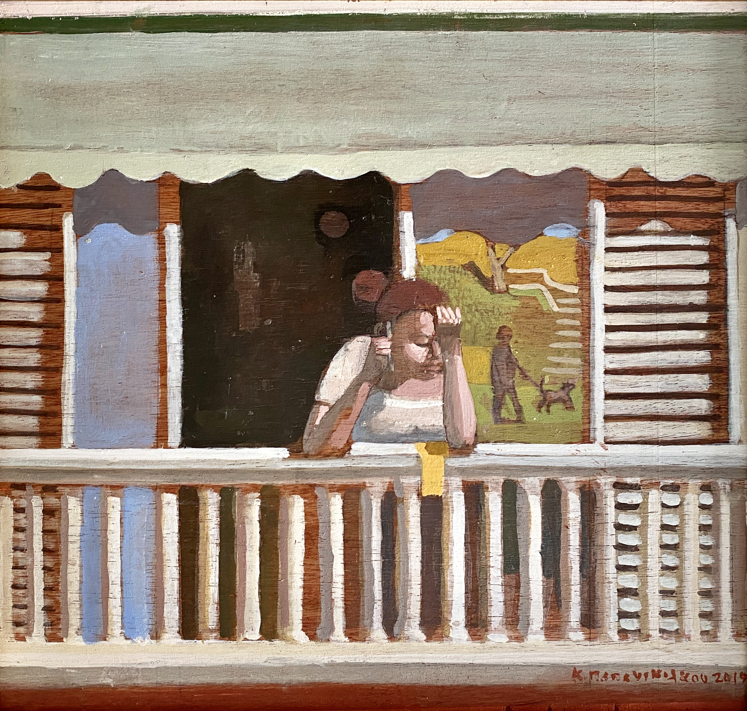 Costas Papanikolaou (Greek, born 1959) (AR), untitled, 2019, oil on panel, 44 x 48 cm