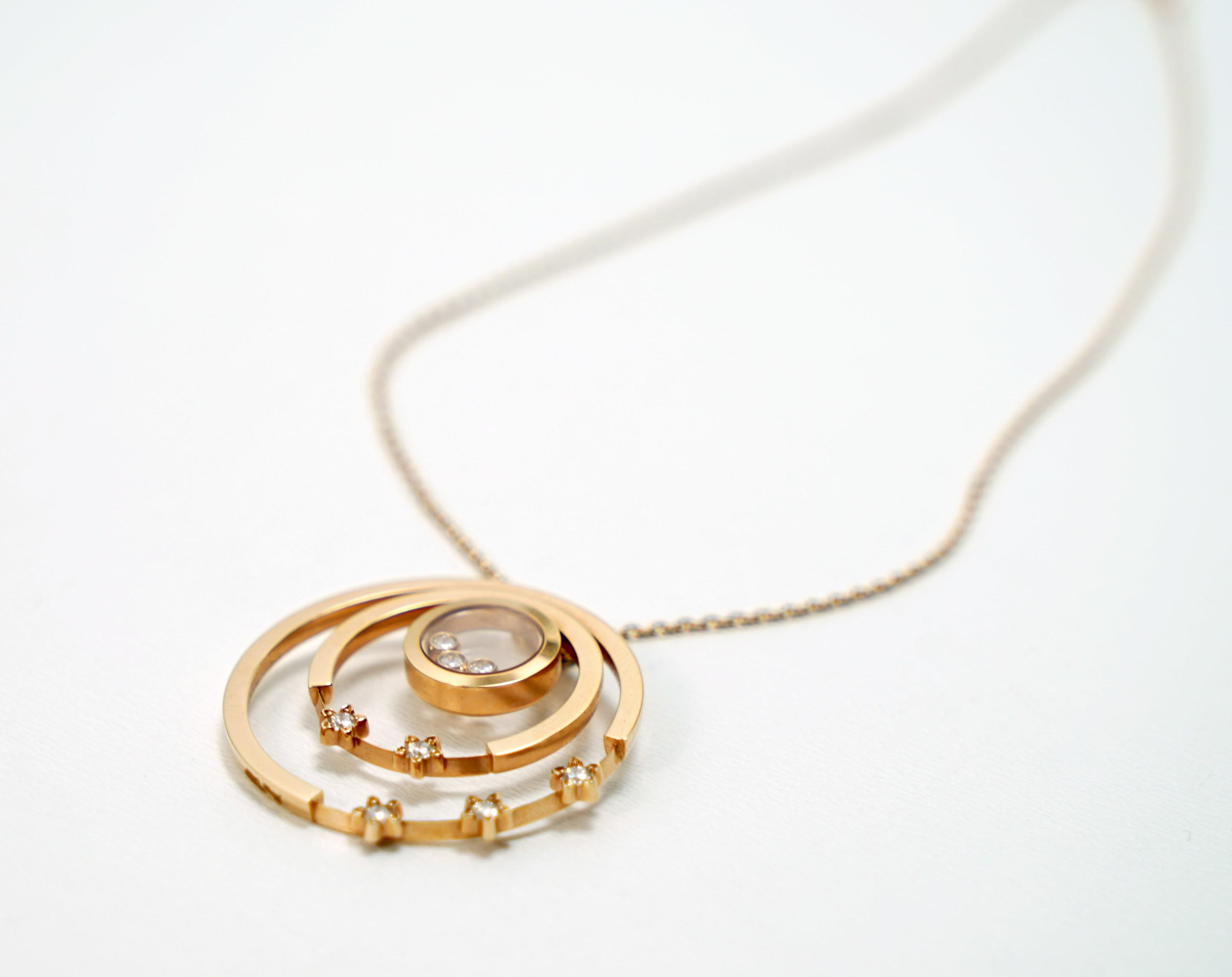 A Lady's Chopard 18K Rose Gold , Happy Diamonds pendant - Image 9 of 9