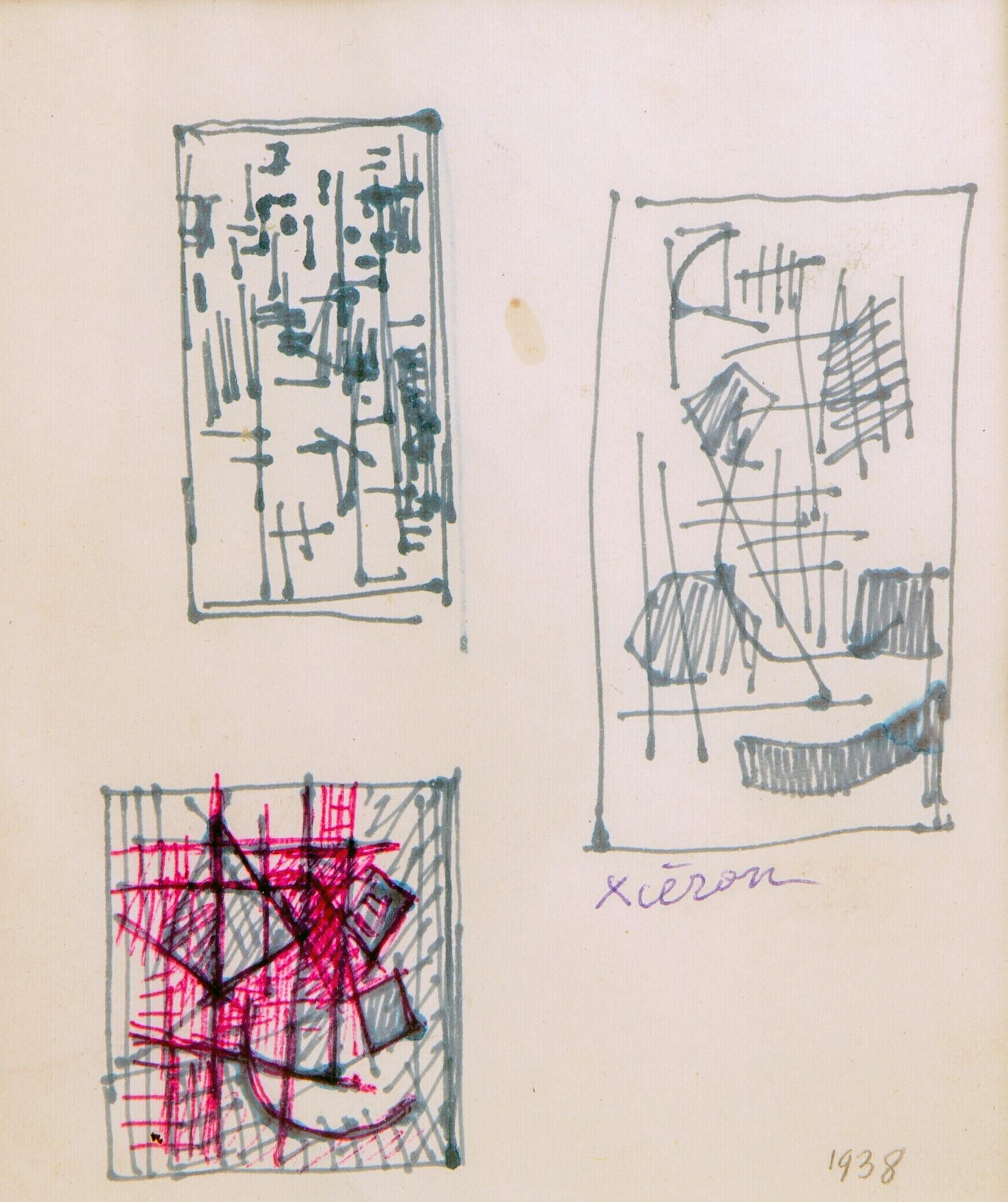 Jean Xceron (Yiannis Xirocostas), Greek American (1890-1967) Untitled, 1938 Ink on paper 13,1 x 11,2