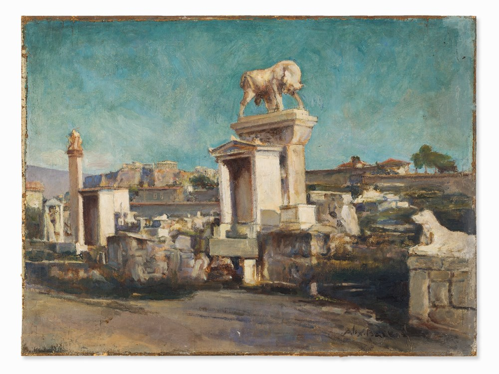 Lot 40 - Alexander Barkoff (1870-1942), Kerameikos of Athens, Oil, 1930s  Oil on canvas, laid down on