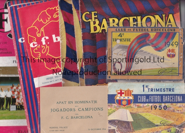 BARCELONA A collection of Barcelona items to include 7 Home programmes and 1 Away at Feyenoord (