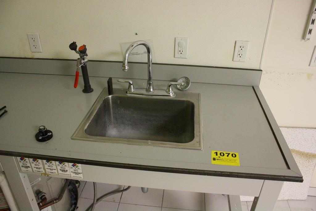 eye wash station w  stainless steel sink  location 255