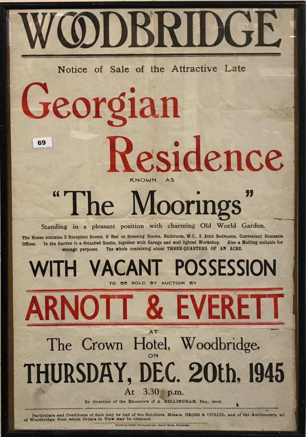 Lot 69 - A 1945 framed property sale poster for Woodbridge in Suffolk, framed size 61 x 88cm.