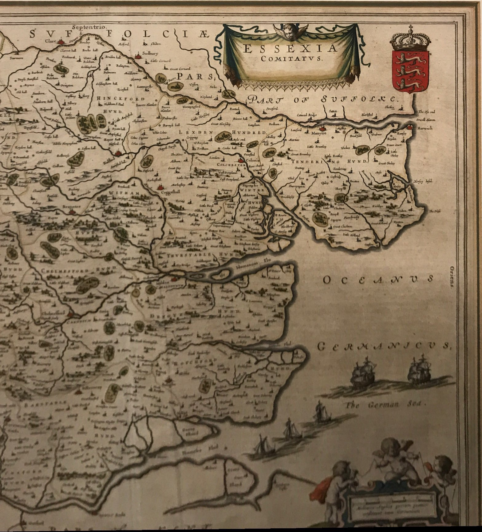 Lot 68 - A framed early map of Essex mounted in a double sided glass, framed size 76 x 66cm.