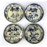 A set of four 18th Century hand painted provincial porcelain plates, Dia. 16cm.