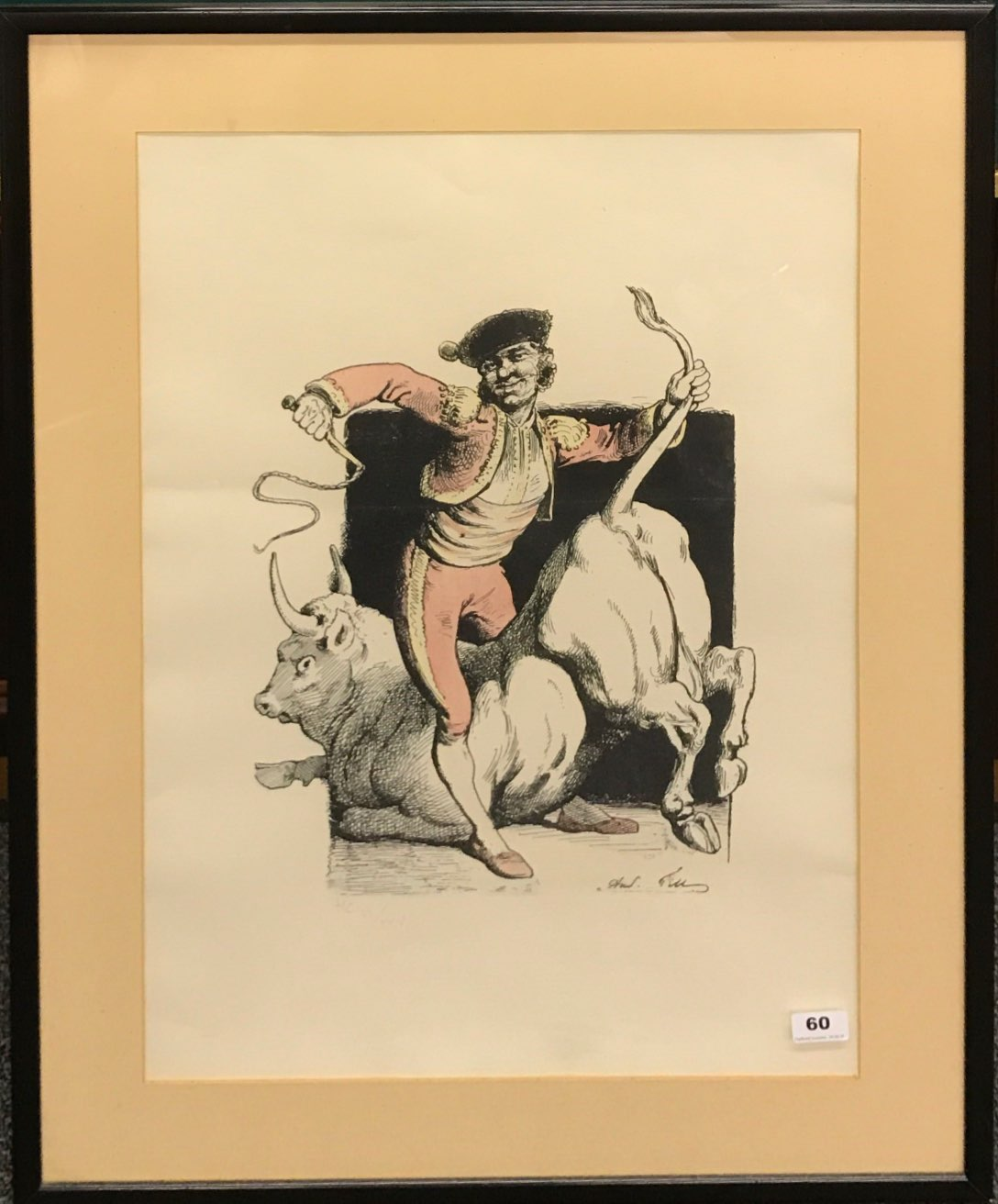Lot 60 - A large pencil signed framed lithograph of a matador initialled H.C and numbered 6/25, framed size