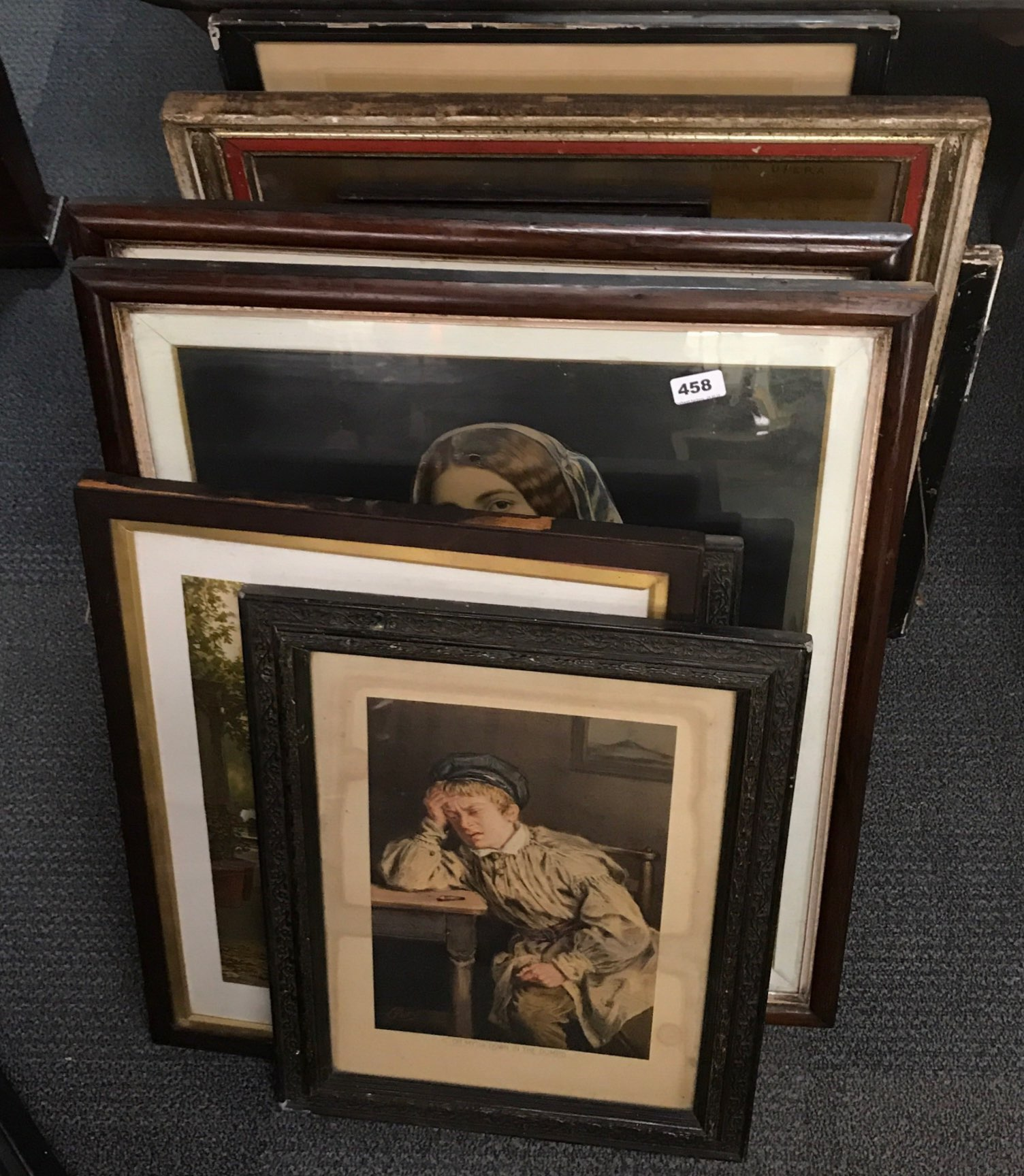 Lot 458 - A quantity of Victorian framed prints, largest framed size 61 x 75cm.