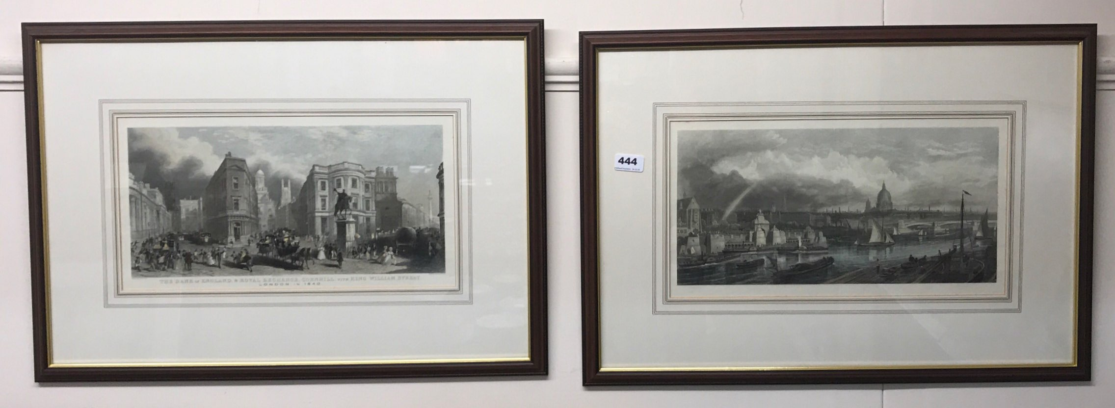 Lot 444 - A pair of framed coloured prints of The Bank of England, Royal Exchange, Cornhill, with King William