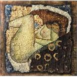 """A large mixed media oil on canvas after Gustav Klimt's """"Danae"""", size 150 x 150cm."""