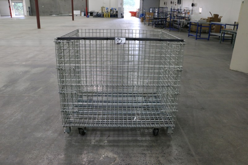 "Lot 25 - Rolling Wire Gaylord, 46""W x 39""L x 36""h, 2800lb capacity, collapsible"