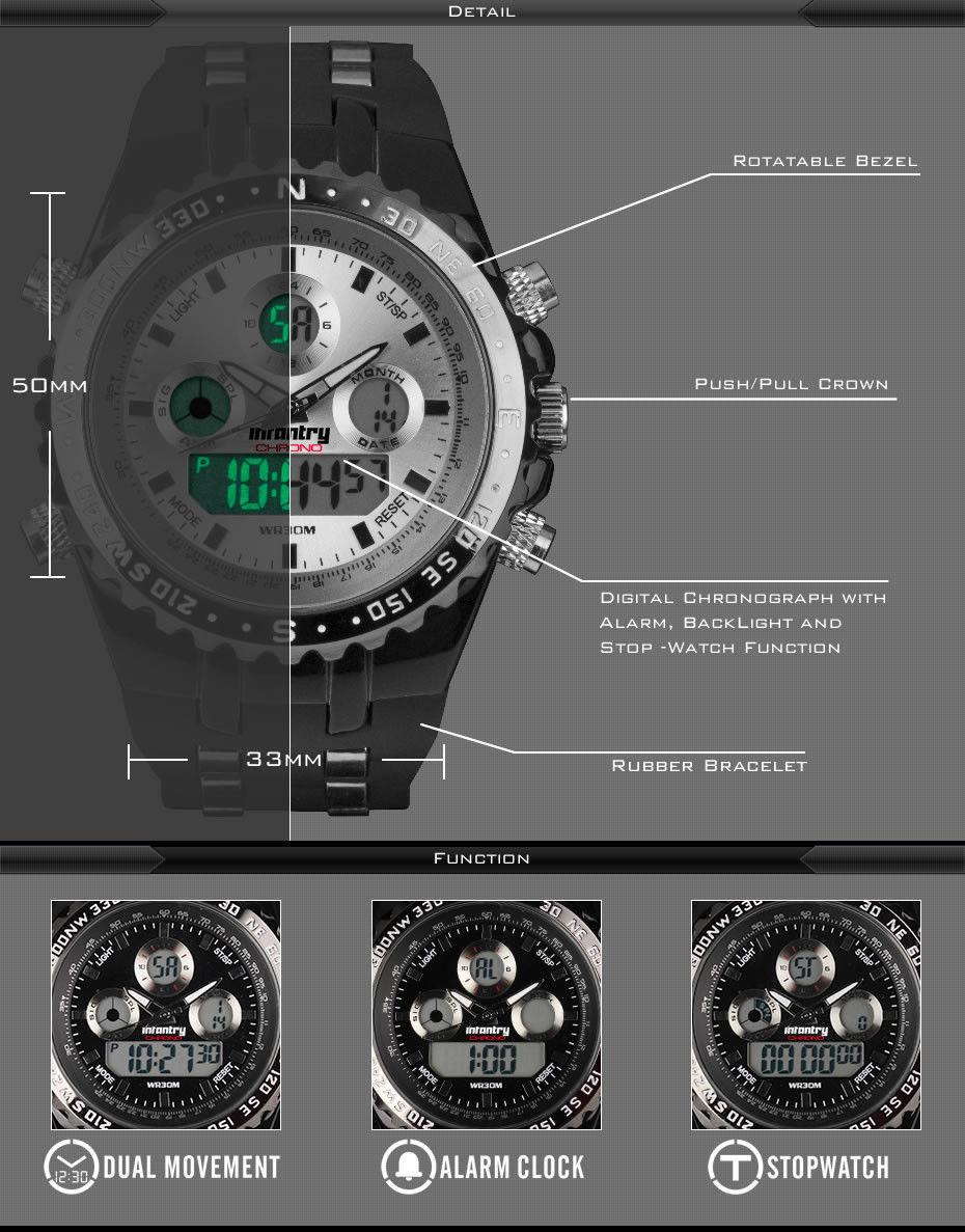 Mens Infantry Army White Sport Digital Quartz Wrist Watch