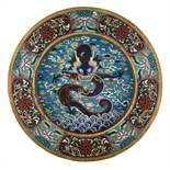 A large Chinese cloisonné charger, the well with a dragon chasing the flaming pearl, the rim
