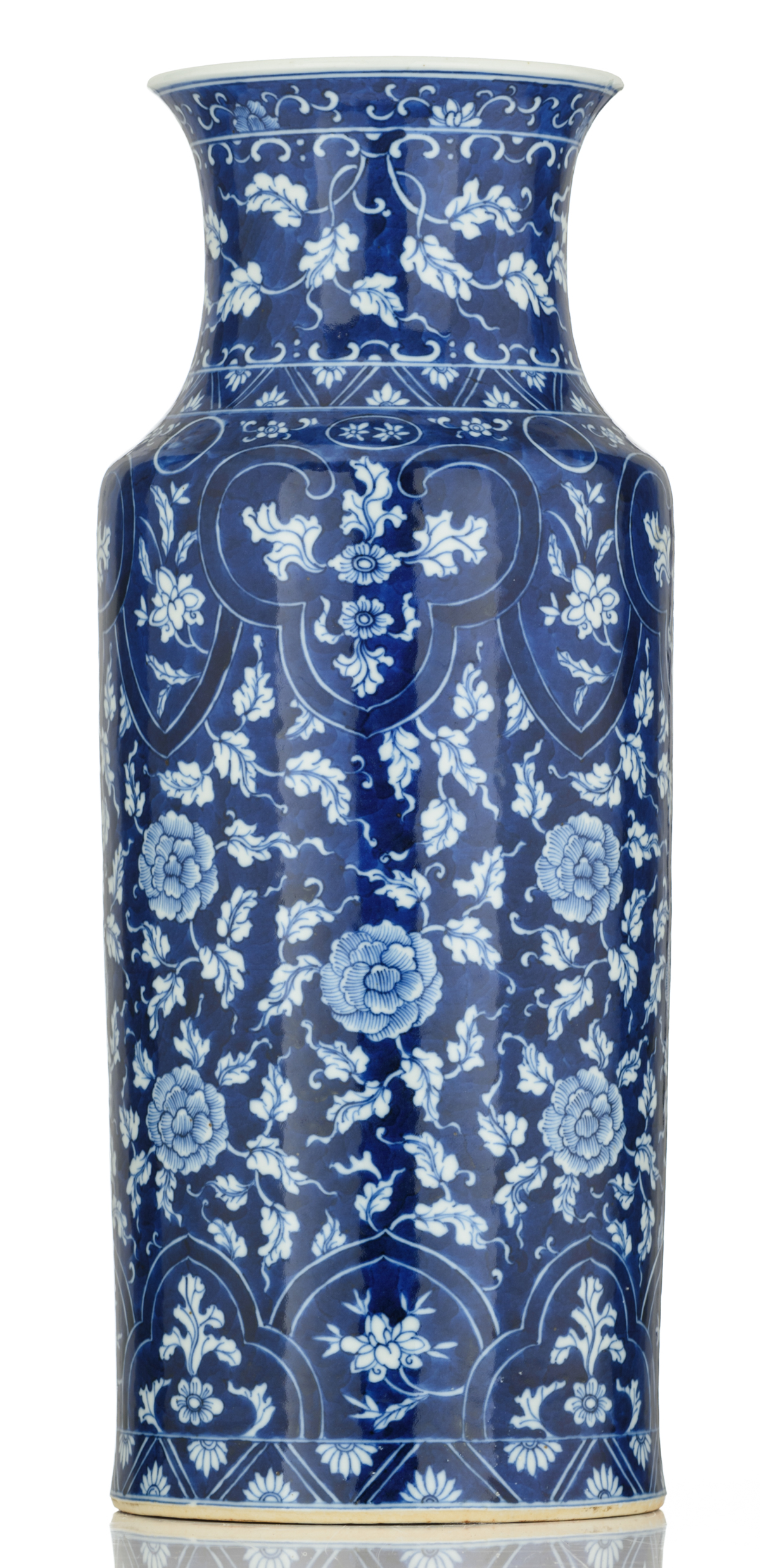 Lot 52 - A blue and white floral decorated porcelain rouleau vase, 19thC, H 47,7 cm