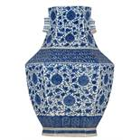 A Chinese hexagonal blue and white hu vase, decorated with floral scrolls and shou signs on the