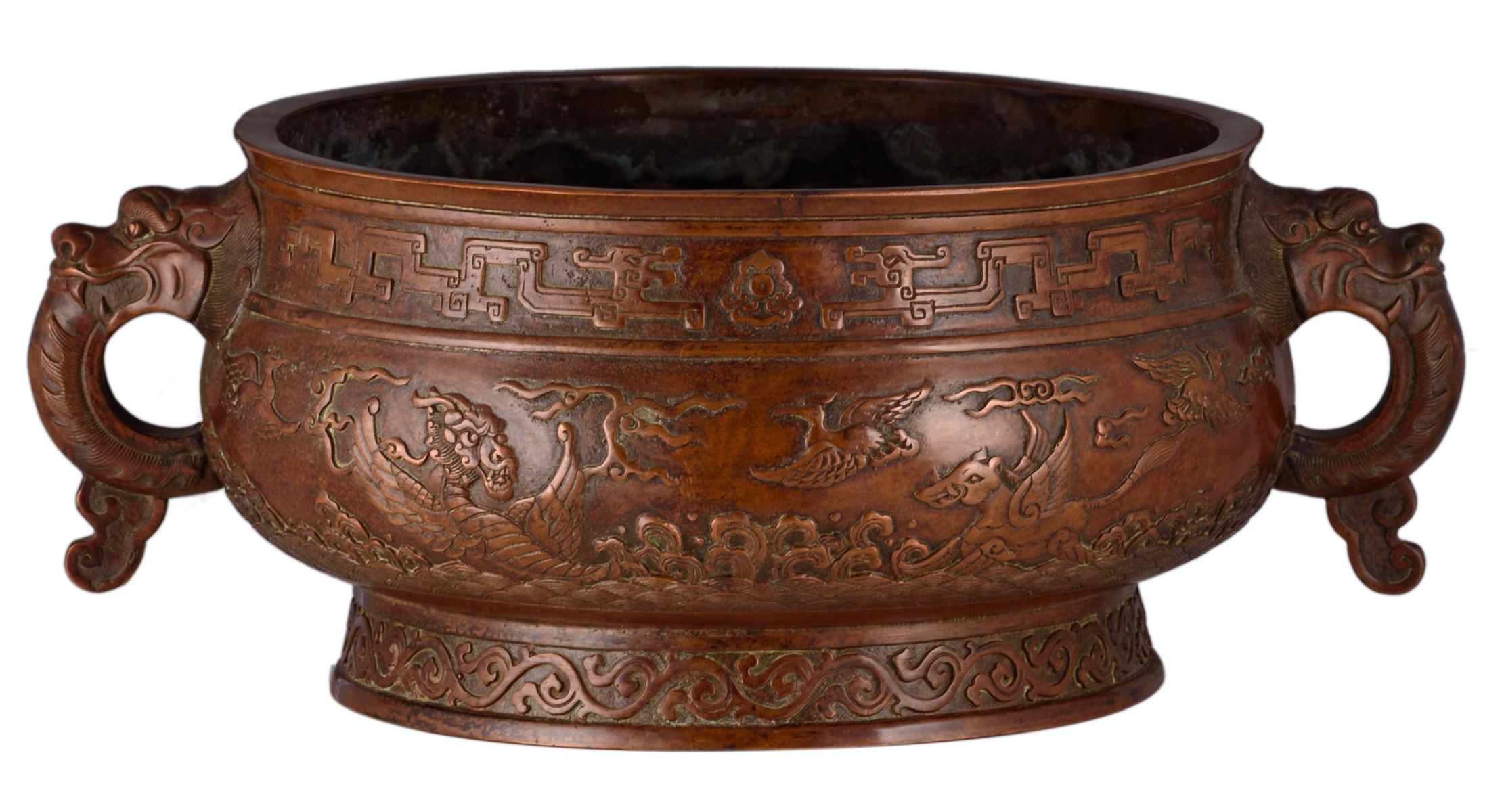 Lot 11 - A Chinese archaic red copper gui incense burner with dragon shaped handles, the central frieze