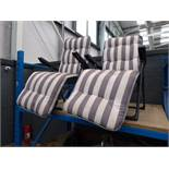 4056 - 2 grey and white striped reclining chairs