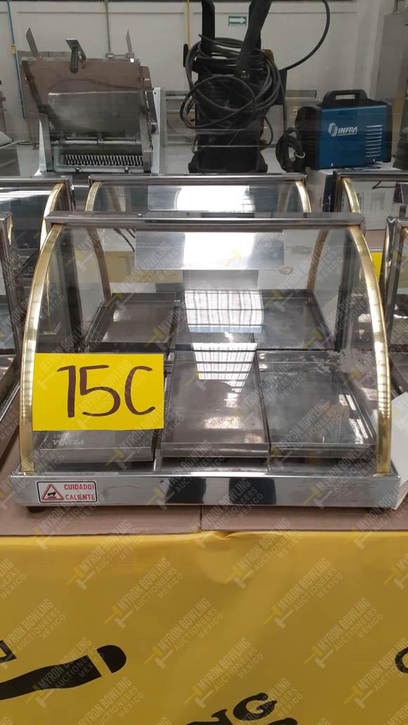 2 Exhibidores cóncavos de cristal para pan con iluminación y resistencia