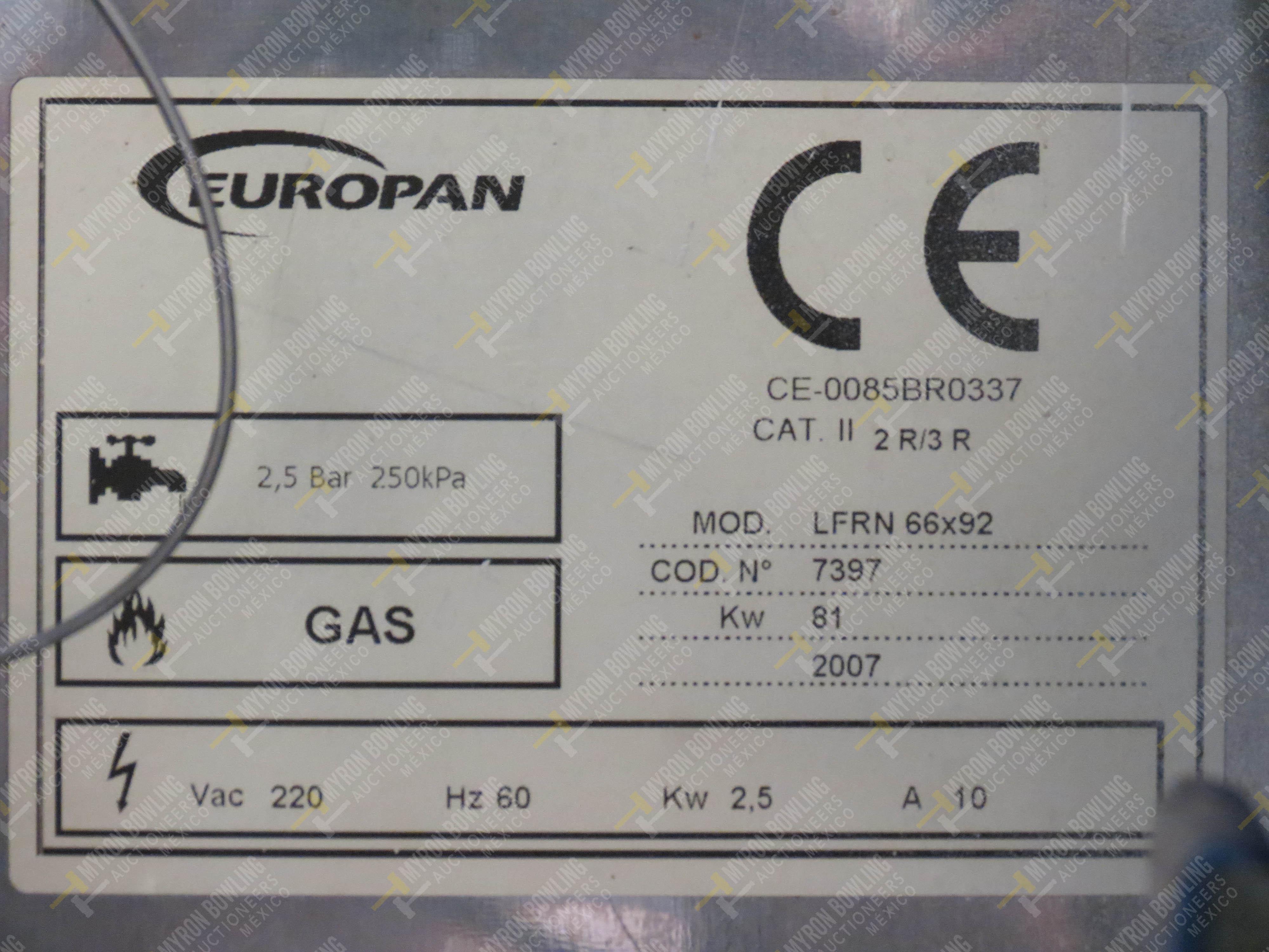Horno giratorio a gas marca Europan, Modelo LFRN66X92, No. de Serie 6397, año 2007 ... - Image 6 of 13