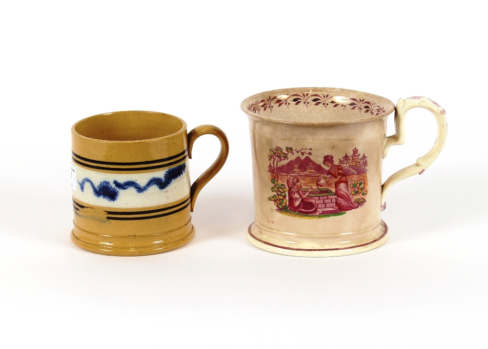 Lot 19 - A 19th Century Mocha ware mug, 10cm high; and a pink lustre mug decorated with a scene of Rebecca at