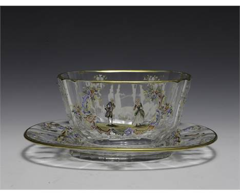 """Enameled Lobmeyr bowl and plate with gold trim, and floral and figural decoration.  Dimensions are: Plate - 7"""" long, 6"""" wide."""