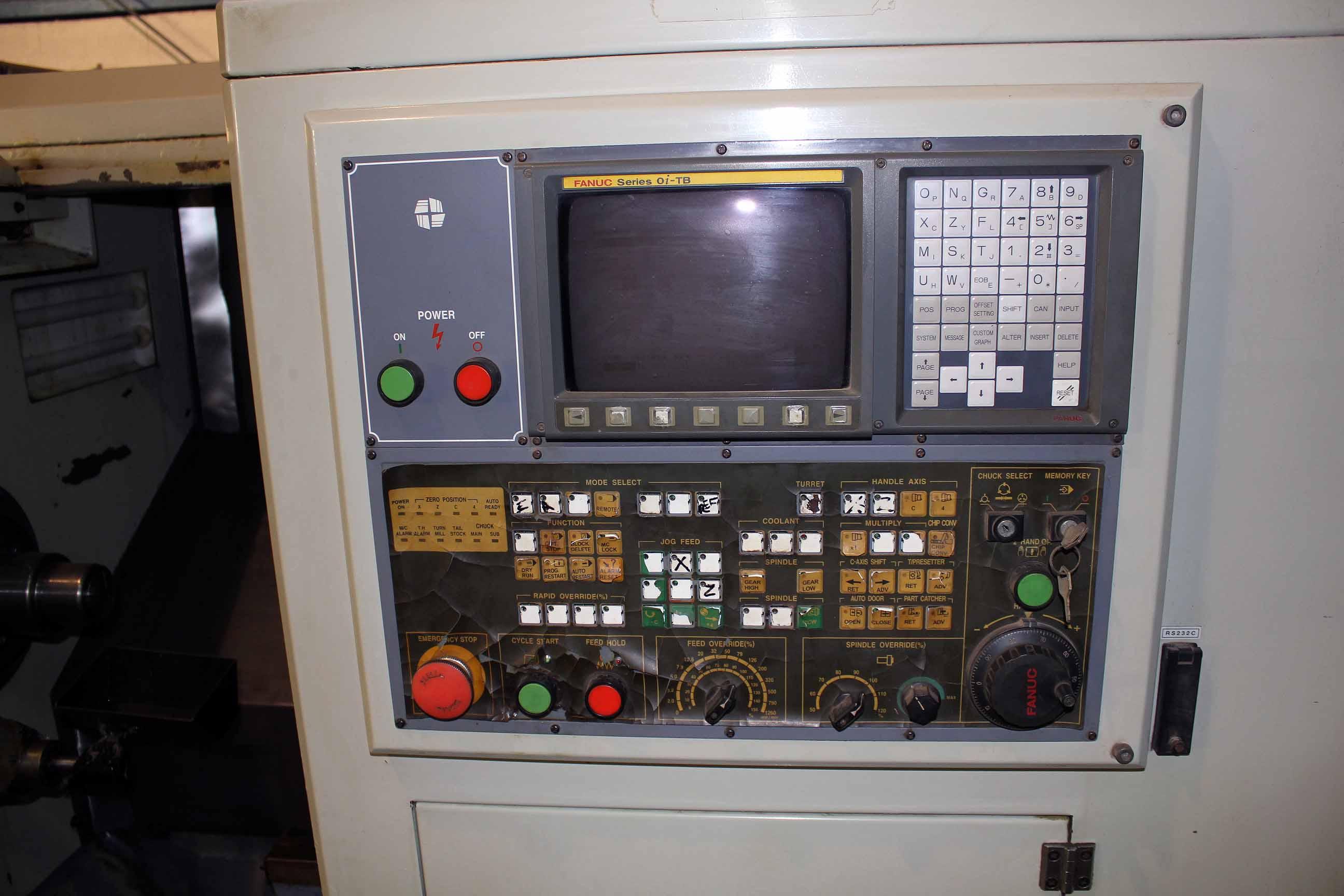 "Lot 28B - CNC LATHE, HWACHEON MDL. HI-TECH-200, new 2004, Fanuc 0i-TB CNC control, 19.7"" sw. over bed, 13.8"""