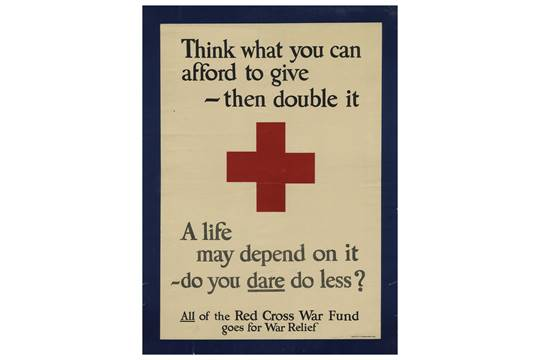 Vintage 1918 American Red Cross Poster With The Slogan Think What