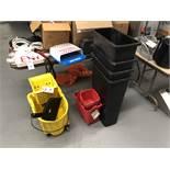 {LOT} Mop Buckets & (4) Trash Dispensers