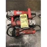 (X3) MILWAUKEE 4-1/2'' ELECTRIC ANGLE GRINDERS, 115V
