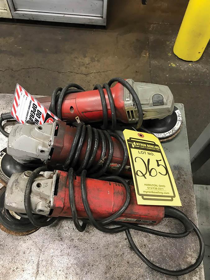 (X3) MILWAUKEE 4-1/2'' ELECTRIC ANGLE GRINDERS, 115V