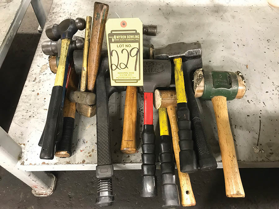 LOT OF ASSORTED HAMMERS, TO INCLUDE BALL PEEN, SLEDGE, & SOFT BLOW HAMMERS