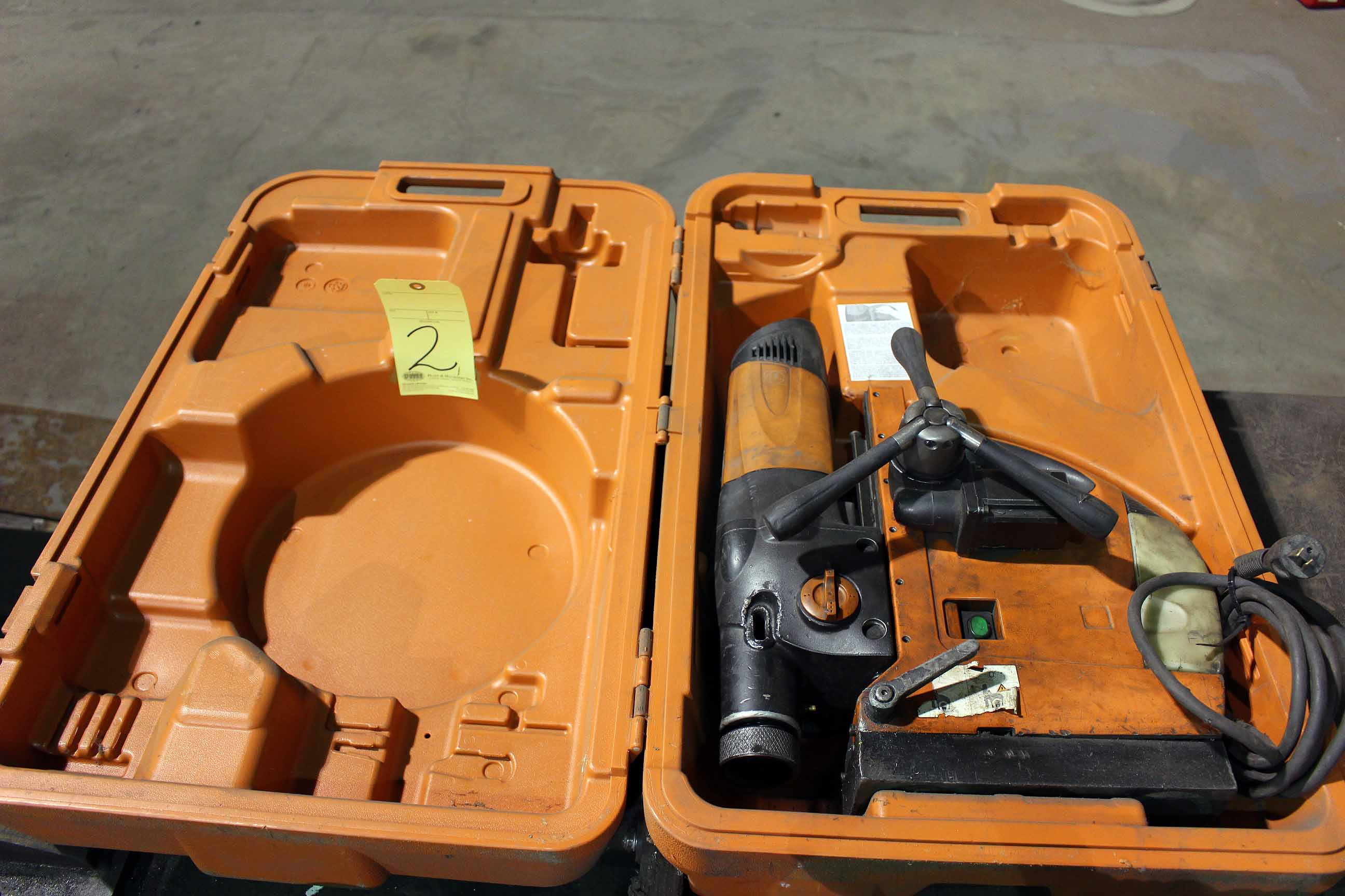 "Lot 2 - AUTO MAGNETIC BASE DRILL, SLUGGER 3-1/8"" MDL. JCM312, w/auto feed & storage case"