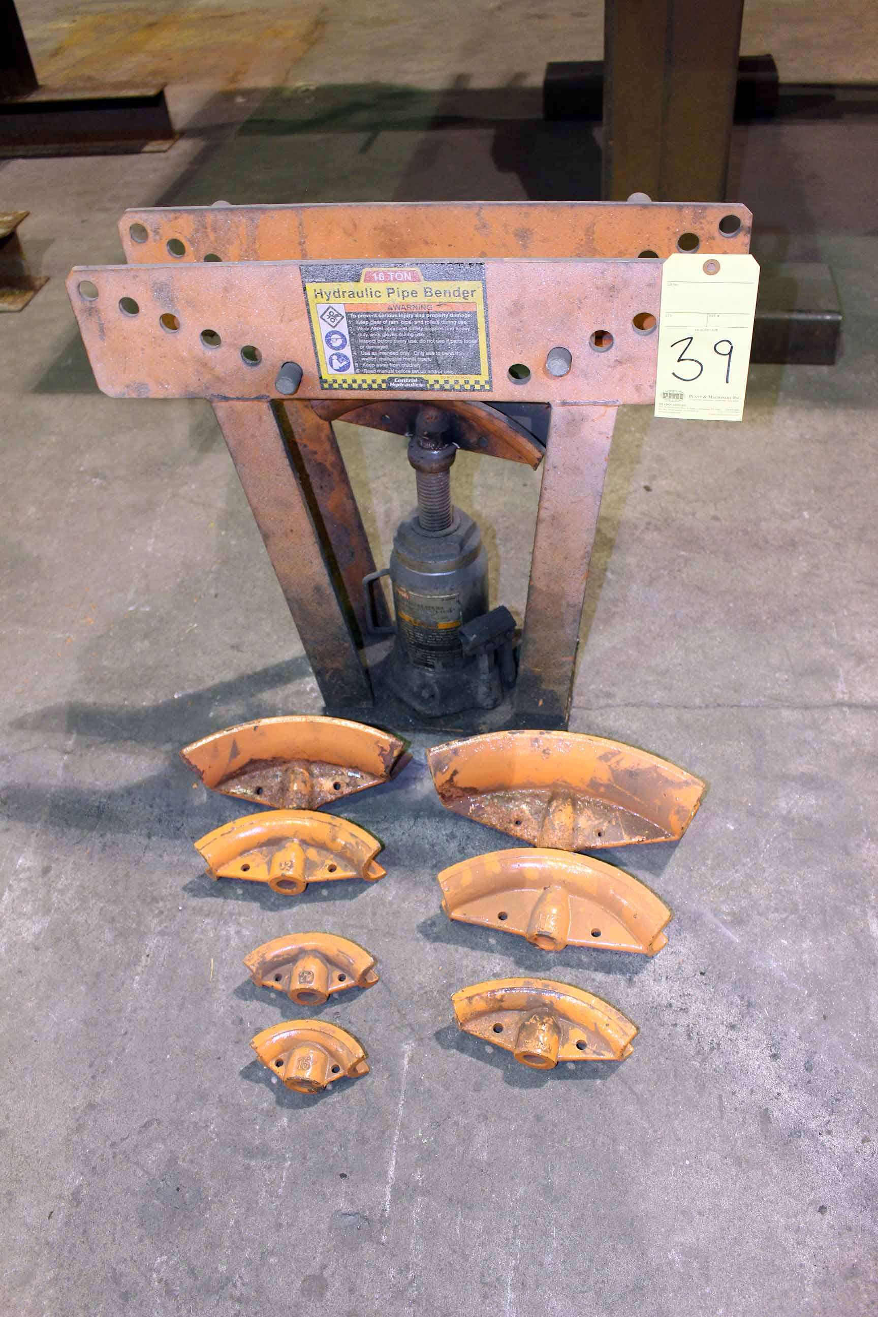 Lot 39 - HYDRAULIC PIPE BENDER, CENTRAL HYDRAULICS, 16 T. cap., with dies