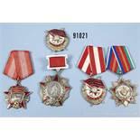Konv. 5 Orden UdSSR, Orden der Völkerfreundschaft, Alexander-Nweski-Orden an Rechteckspange, Orden