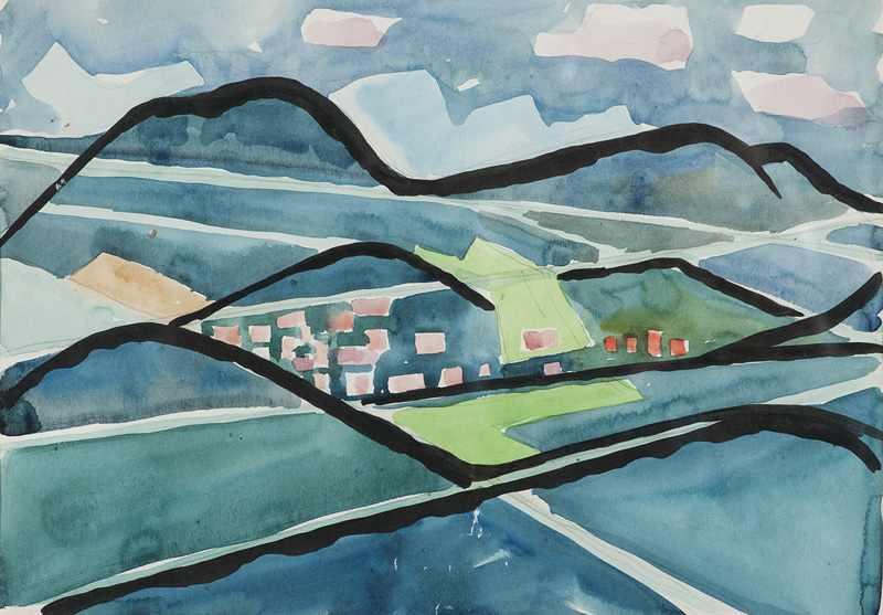 Lot 13 - Coenen, Otto. (1907 Düren - 1971 Mönchengladbach). Blick auf Gernsbach. Um 1954. Aquarell und Tusche