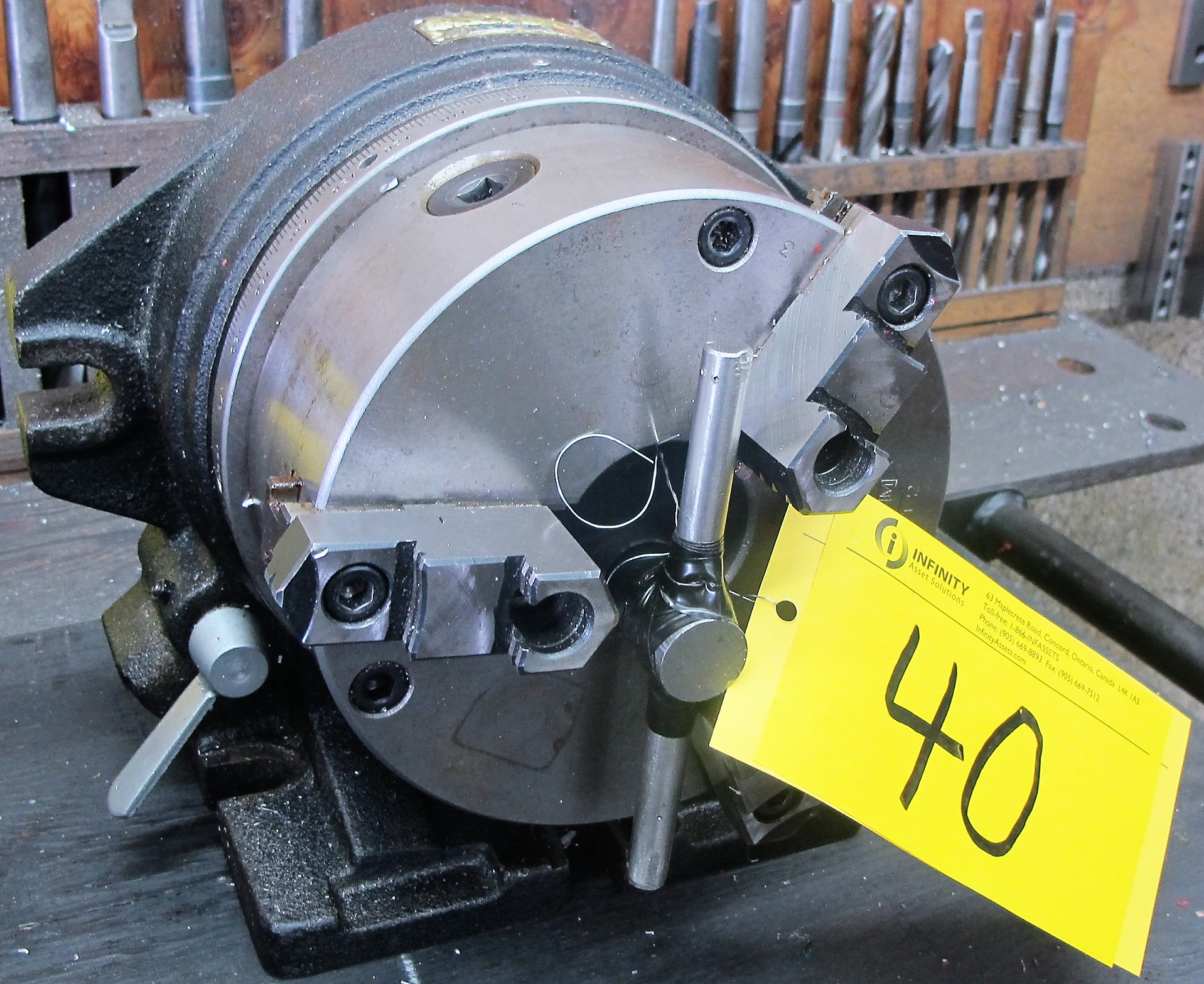 "Lot 40 - VERTEX ROTARY TABLE W/8"", 3 JAW CHUCK"