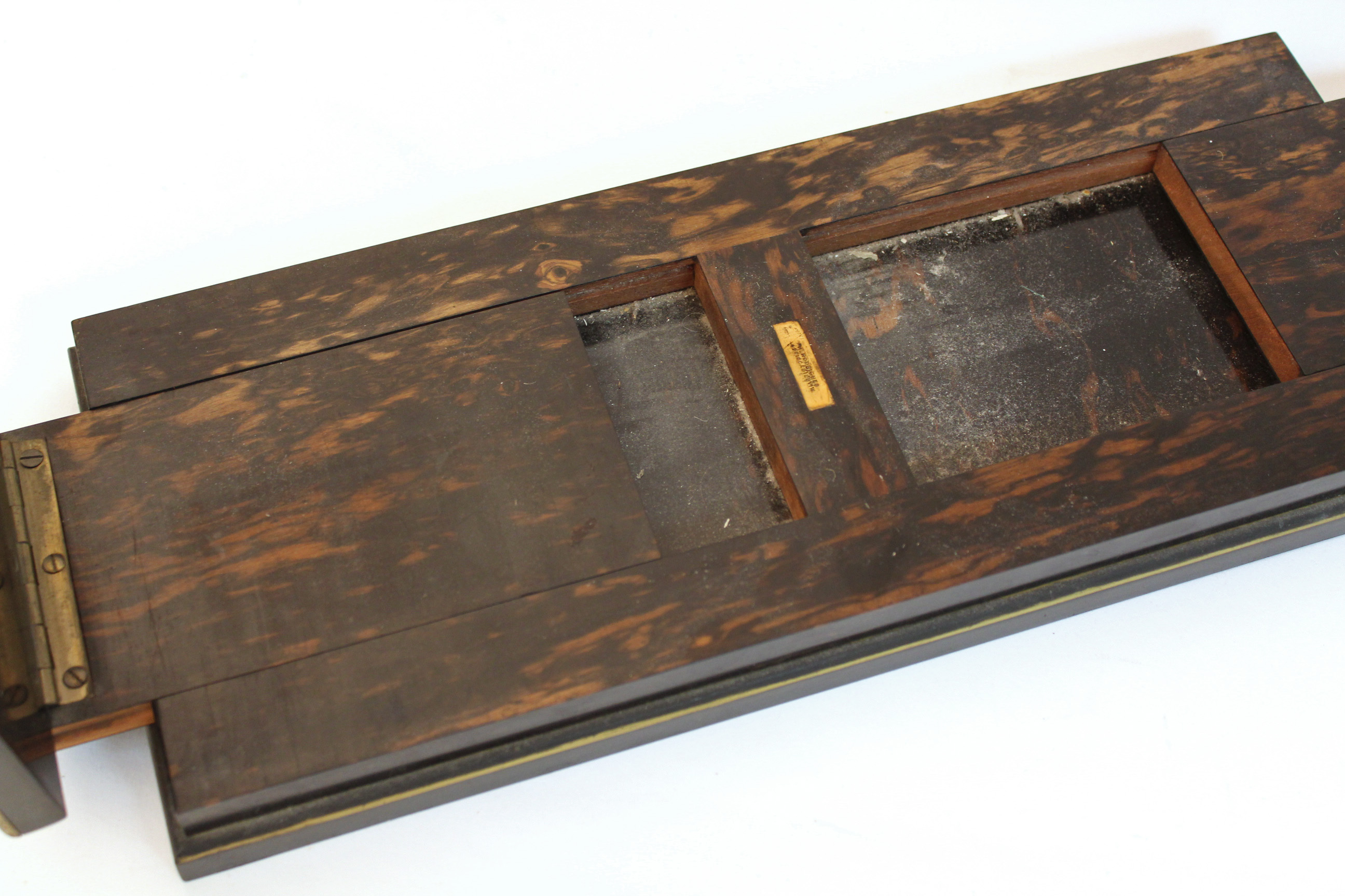 Lot 167 - A set of 19th century coromandel & brass-mounted book-ends by H. Rodrigues, 42, Piccadilly, the