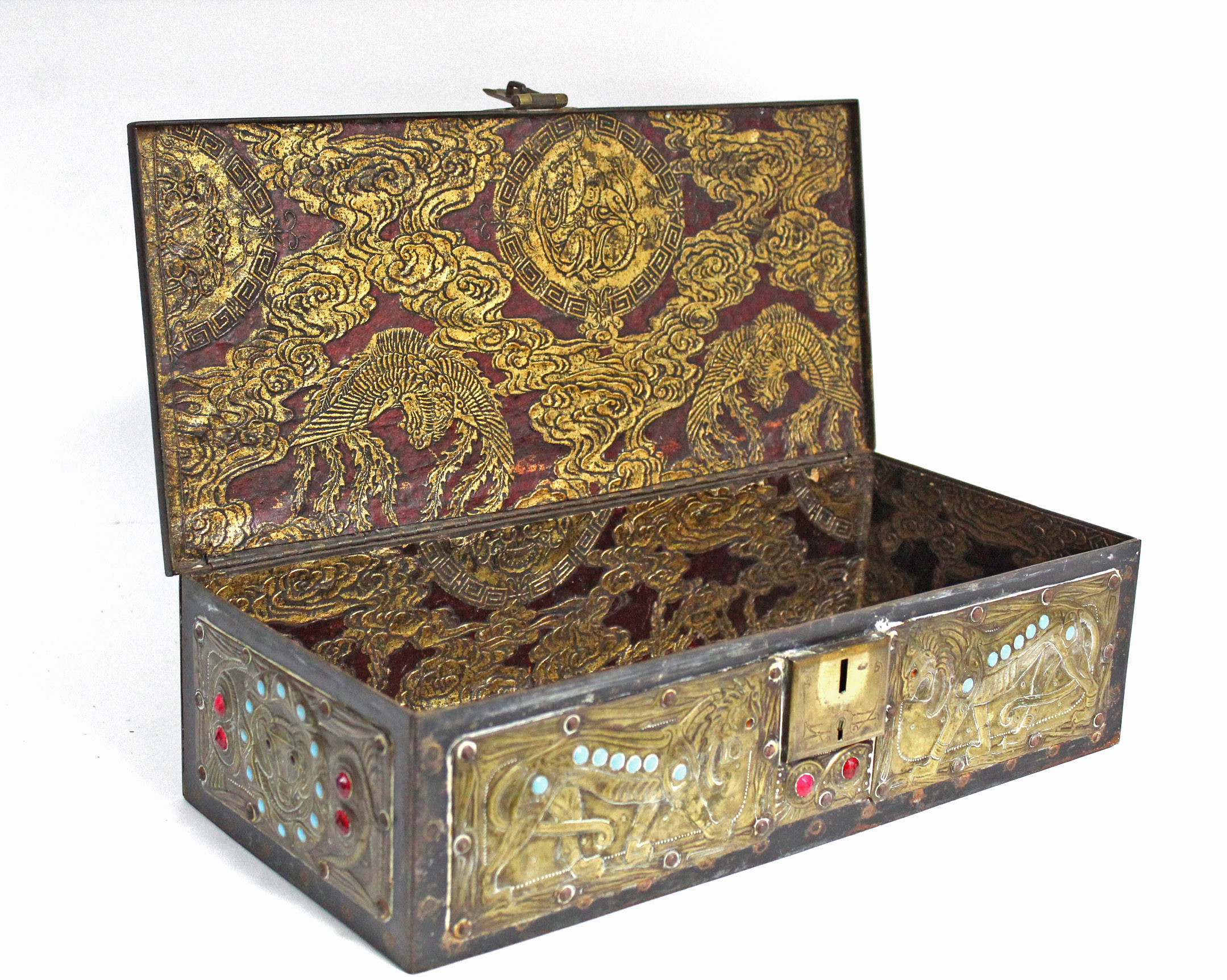 Lot 194 - A FRENCH EMBOSSED BRASS & BLUE STEEL RECTANGULAR CASKET in the late medieval style, & in the
