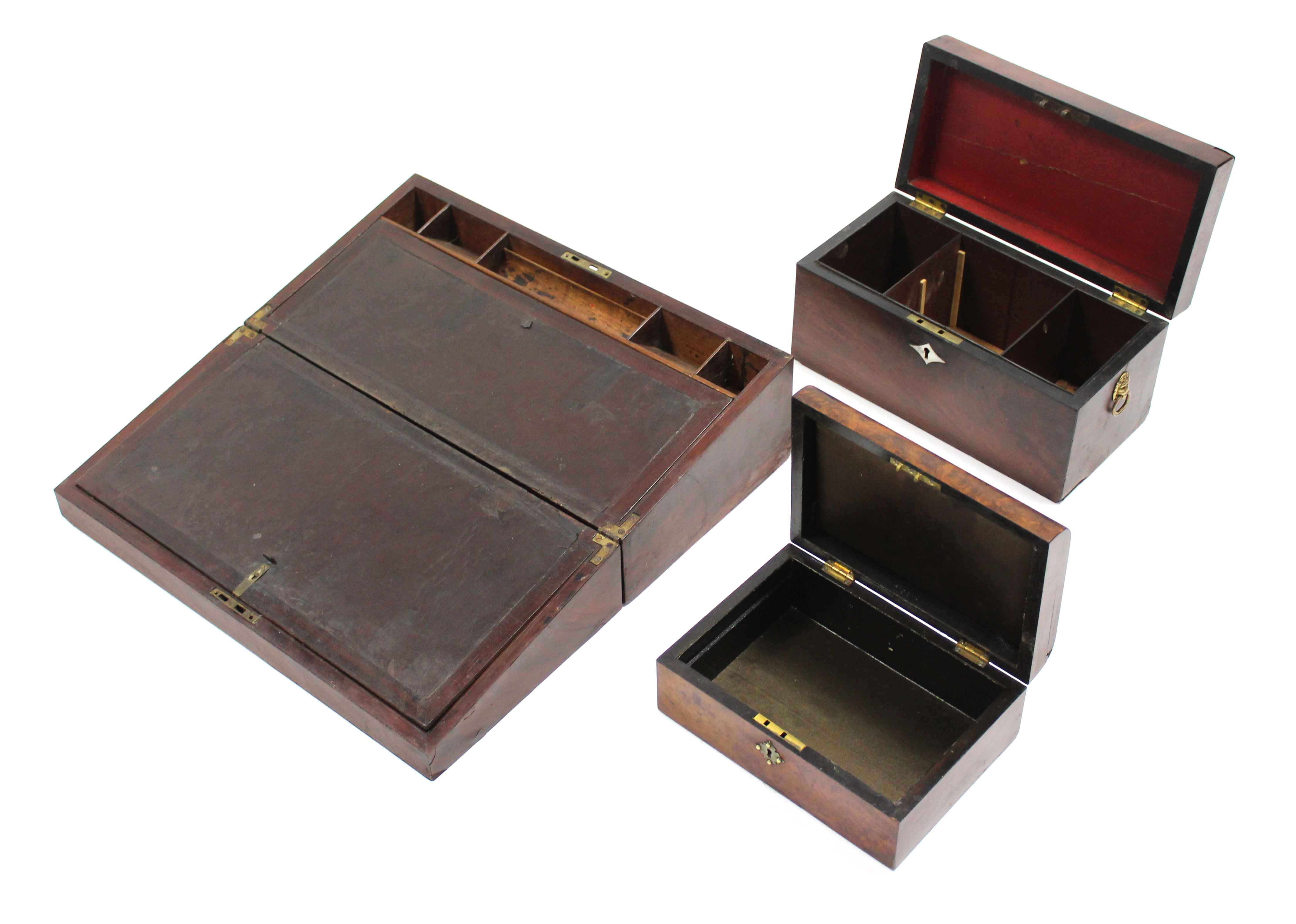 """Lot 168 - An early 19th century figured mahogany writing slope, 19¾"""" wide; a ditto tea caddy with lion-"""